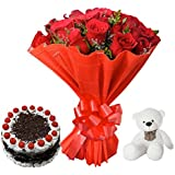 Sattva Flower Boutique 12 Red Roses, 6 Inch Teddy Plushy And Half Kg Black Forest Cake (Cakes and Fresh Flowers)