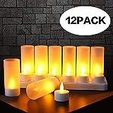 Expower 12er LED Flammenlose Kerzen,Wiederaufladbare Kerzen, Batteriebetriebene Kerzen Kabellose...