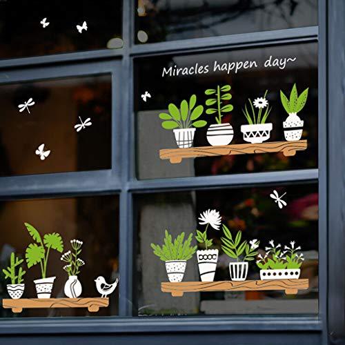 Rokoy Adesivo Murale Bordo Adesivi in Vaso Pianta Piccolo Negozio di Vetro Fresco Cafe Decorazione Bar Adesivi Murali Parete Decorativa