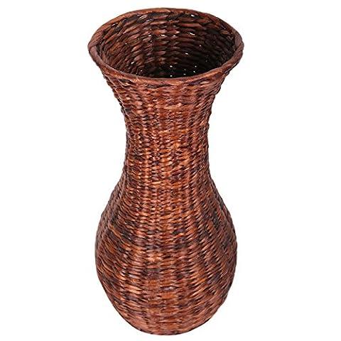 Eshow Rattan Blumentopf Pflanztopf Vase Bodenvase Blumenschmuck Home Decor rund mit Einsatz ca. 30L (Braun (Geschenke Für Den Mann Online-shopping)