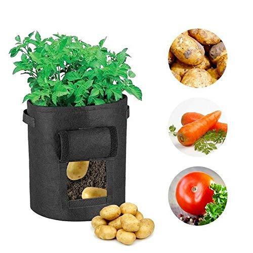 hotsilai grow borse【2 pack ,20 litri】,di piantapatate con patta per coltivare ortaggi con patta per patate, carote & pomodori,con manici a tracollae con morbida consistenza simile al feltro -nero
