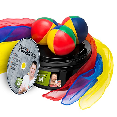 Mister M ✓ 3 Bälle + 3 Tücher (CE Geprüft) + Lern DVD in einer Geschenkbox, Ultimative Jonglier Set
