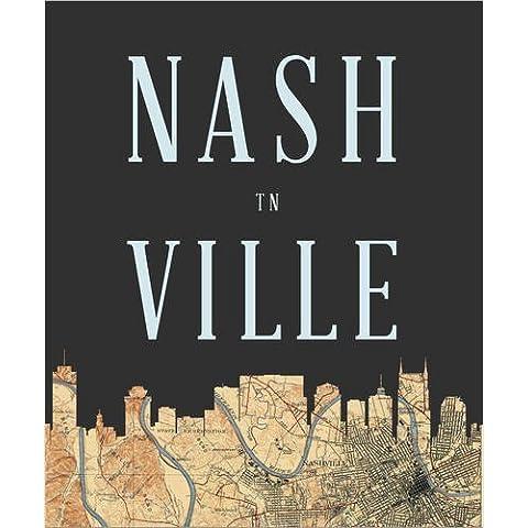 Stampa su tela 90 x 110 cm: Nashville Map Skyline, Tennessee di Amelia Gier - poster pronti, foto su telaio, foto su vera tela, stampa su tela