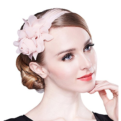 80Store Fascinator Stirnband-Damen Chic Kopfschmuck 3D Chiffon Blume Feder Dekor Rosa (Rosa) (Fantastisches Prom-kleid)