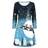 Briskorry Damen Weihnachtskleid,Frauen Weihnachtsdruck Langarm Kleid Cocktailkleid Knielänge Kleid Abend Rockabilly Kleid A-Linie Kleid