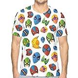 3D Printed T Shirts,Legendary Cartoon Character Masks Flash Batman Spider-Man Comic Costume Print L