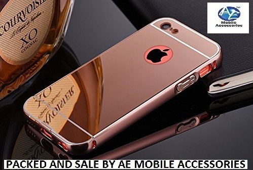 AE Luxury Metal Bumper + Acrylic Mirror Back Cover Case For APPLE IPHONE 5/5S ROSE GOLD PLATED  available at amazon for Rs.299