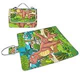 COOSUN Manta de picnic con dibujos de dinosaurio feliz, práctica alfombra resistente al moho y resistente al agua para picnics, playas, senderismo, viajes, viajes y excursiones