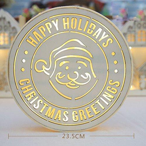Bluelover Weihnachten 2018 LED Nachtlicht Holz Runde Lampe Licht Hängen Tabletop