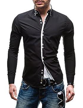 BOLF Hombres Camisa Con mangas largas Camisa del ocio Slim Fit 1721-1