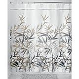 InterDesign Anzu Duschvorhang | waschbarer Duschvorhang in 180,0 cm x 200,0 cm | mit floralem Duschvorhang Motiv | Polyester schwarz/hellbraun