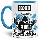 Tassendruck Berufe-Tasse Bedeutung Eines Koch Innen & Henkel Hellblau/Job/Tasse mit Spruch/Kollegen/Arbeit/Witzig/Mug/Cup/Geschenk-Idee Qualität - 25 Jahre Erfahrung