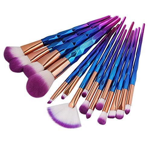 Professionelle Make-up Pinsel Kits Verkauf Gut Make-up Pinsel Set 15 Stücke Bunte Griff Weichem Nylon Haar Fan Kopf Puder Make-up Pinsel Schönheit Werkzeug - Gold,Purple