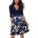 Blazar Casual Kleider Damen Sommerkleid Knielang 1/2 Arm Cocktailkleider Schwinger Kurz A-linie Elegant Rockabilly Kleid, Blau XL