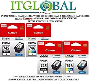 CANON PG 745 Small Black & CL 746 Small Color- 2 Each [Set of 4 Cartridge] -Special ITGLOBAL ComboWith Scratch & Win Reward Offer - From ITGLOBAL