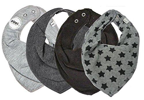 Pippi SUPER 3er Set Jungen Baby Kinder HALSTUCH 3 Stück grau/blau/schwarz ★ + GRATIS 1 Bestseller Halstuch Sterne 4 Stück (Grau & Grey Stars)