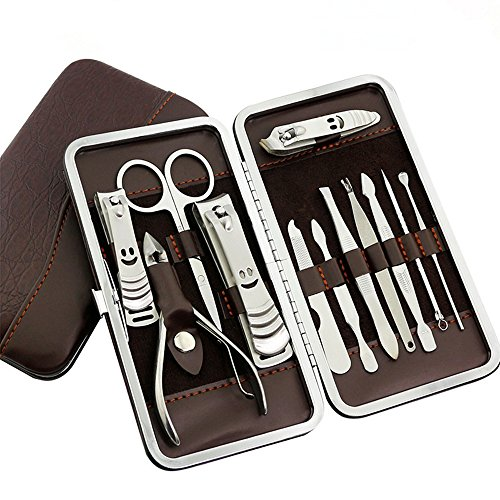 PhantomSky 12 Stück Edelstahl Maniküre Pediküre Set Nagelknipser Cleaner Nagelhaut Pflege Kit - perfekte Nagelschere Werkzeug-Set für den Profi und täglichen Gebrauch