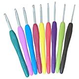 Hrph 9PCs gancho de metal mixto de ganchillo Plantilla del kit de aluminio TPR agujas de tejer para Loom herramienta de la venda DIY Crafts