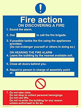 Fire Action Assembly Point Hard Rigid Plastic Sign Safety 20cm Health Warning