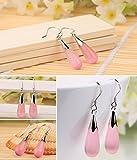 doitsa 1Pair Cats Eye Stone Earrings 925Sterling Silver Drop Earrings Female Models Fashion Accessories pink