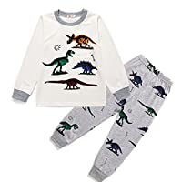 Toddle Boys Pyjamas Set Dinosaur Pjs for Boy Winter Nightwear Kids Pyjama Long Sleeve Sleepwear Clothes 2 Pieces 100% Cotton Age 1-7 Years