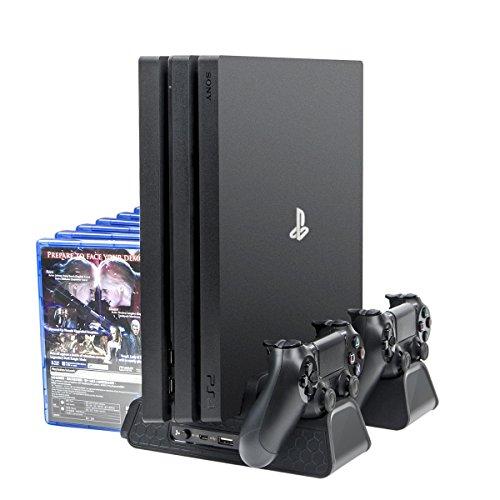 Fan Kühler für ps4 Spiele, Megadream Cooling Fan für ps4 Zubehör Multifunktionale Kühlung Spielständer mit 3 eingebauten Kühlgebläsen& Dual Controllers Ladestation& Store für PS4/ PS4 Slim/ PS4 Pro -