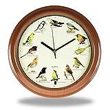 Monsterzeug wandklok met 12 verschillende vogelstempels op batterijen, met vogelgeluiden, vogelzangklok voor thuis