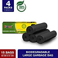 Ezee Bio-degradable Large Garbage Bags/Trash Bags/Dustbin Bags (24 X 32 Inches) Pack of 4 (60 Pieces) 15 Pcs Each Pack