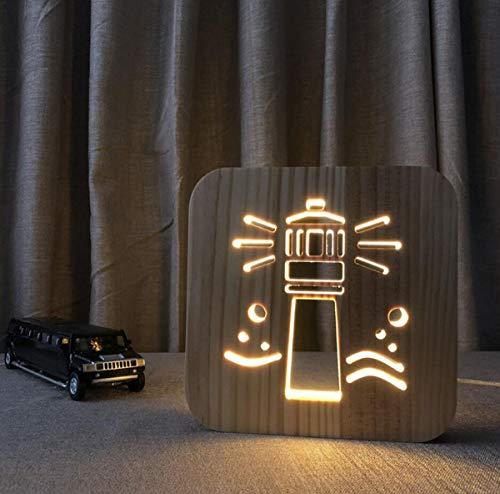 GDLight 3D Holz Leuchtturm Nacht Lampe geschnitzt Hohle LED Schreibtischlampe mit USB Power Home Indoor Dekoration für Kinder Erwachsene Mädchen Geschenke, 7,5 Zoll -
