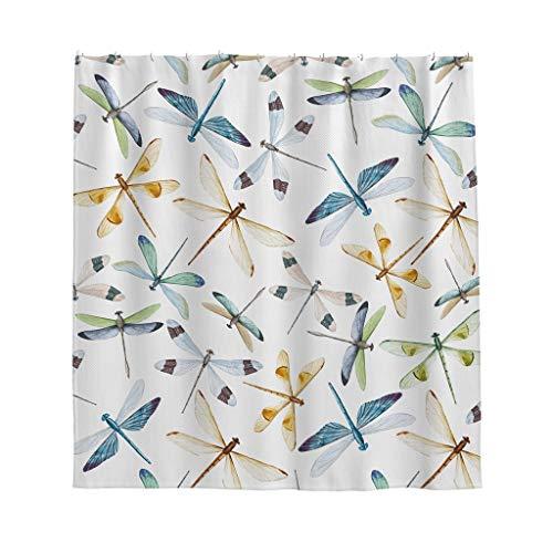 Libelle Duschvorhang Anti-Schimmel Wasserdicht Polyester Schöner Vorhang mit Haken für Badezimmer Weiß 120x200cm (Dusche Vorhang Haken Weiß)