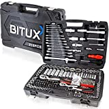BITUXX Werkzeugkoffer 215 tlg Knarrenkasten Ratschenkasten Nusskasten Stecknuss Adapter Umfangreiches Set mit 1/2' 1/4' 3/8' Ratschen & Zubehör