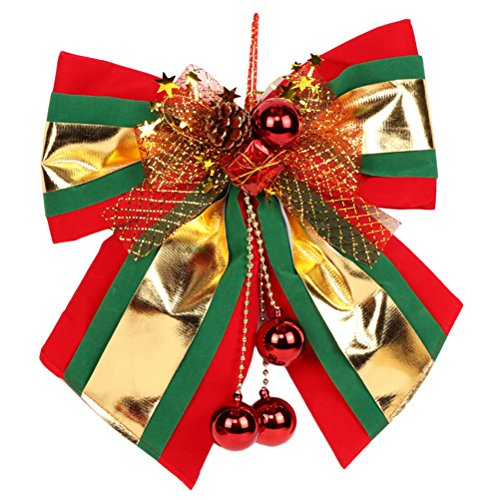 Zhhlinyuan Large Tree Topper Garland Christmas Big Bow Decoration Red&Gold (Topper Bow Tree)