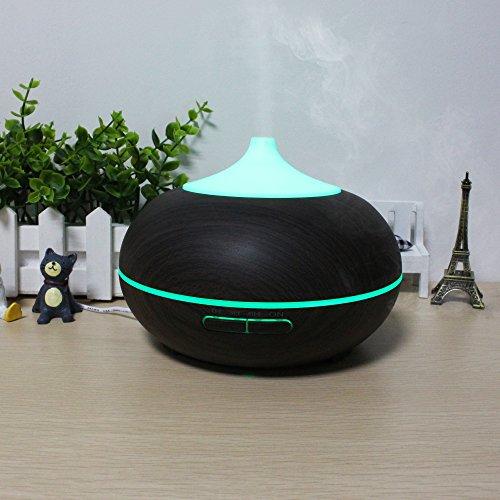 Mermaid 300ML Ultraschall Aroma Diffusor Befeuchter Holzkorn ätherisches Öl Lonizer mit Farbe LED-Leuchten Changing & 4 Timer-Einstellungen, Wasserlose Auto-Shut-Off für Office Home Room (Auto Nebel Maschine)