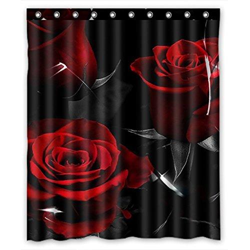 CHATAE Custom Fire Rot Rose und Schwarz Blätter Badezimmer Vorhang für die Dusche, Dusche Ringe enthalten 100% Polyester wasserdicht Duschvorhang 152,4x 182,9cm