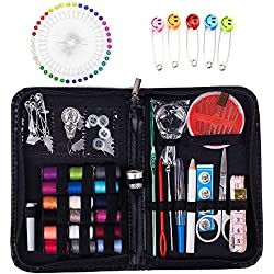 Kit de costura de viaje, más de 100 suministros de costura prémium, mini kit de costura para el hogar, viajes y uso de emergencia, etc.