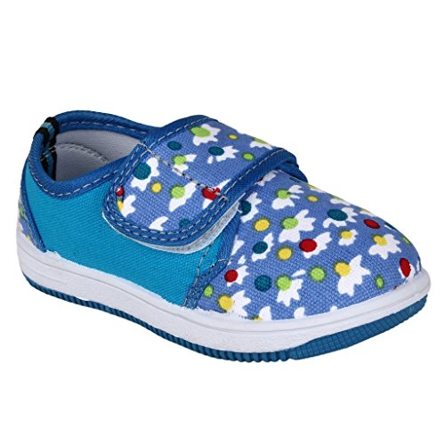 MYAU Kid's Girls Boys Flower Printed Blue White Stylish Comfortable Soft Cotton Casual Sneakers