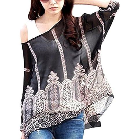 Blusa de talle ancho hecho de gasa y con estampado abstracto negro 006 – Moda femenina para la mujer mws1826
