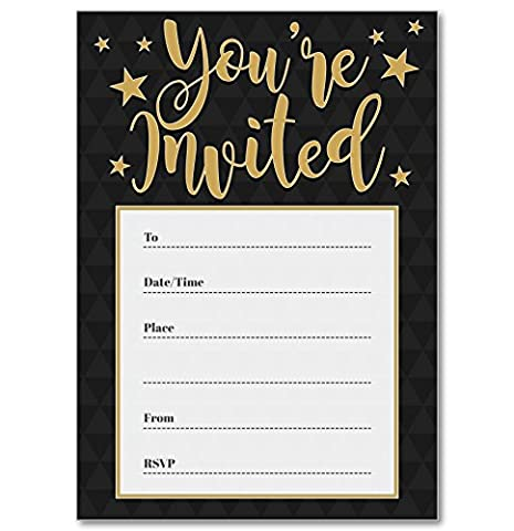 Black / Gold 'You're Invited' Party Invitations - Pack of 16 A6 Cards (With Envelopes)