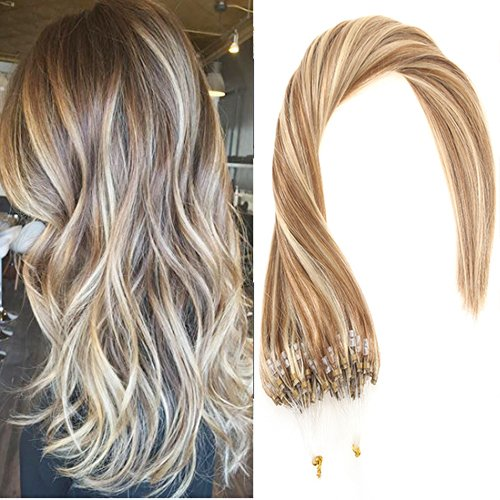 Sunny 22Zoll/55cm Echthaar Microring Extensions Hellbraun with Blond Remy Brasilianisch Easy Loop Haarverlangerung 1g/Strahne 50g 22 In Extensions Echthaar