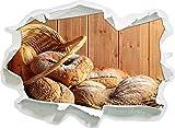 Brot Brötchen Frühstück Bäcker , Papier 3D-Wandsticker Format: 62x45 cm Wanddekoration 3D-Wandaufkleber Wandtattoo