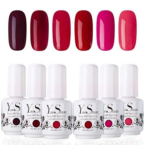 Yao Shun Soak Off Gel Nail Polish Sets 6 Colours Red Wine Series UV LED Gel Polish Set 8ml Kit#006