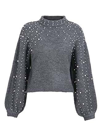 Simplee Apparel Damen Kurz Perle Sweater Casual Loose Langarm Rollkragen Oversize Grobe Strickpullover Oberteile mit Lantern Sleeves Grau