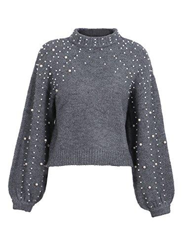 Simplee Apparel Damen Kurz Perle Sweater Casual Loose Langarm Rollkragen Oversize Grobe Strickpullover Oberteile mit Lantern Sleeves Grau (Kurze Ärmel Perlen)