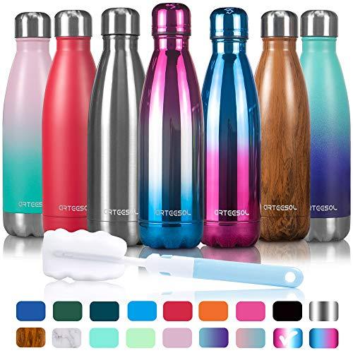 arteesol Wasserflasche-Doppelwand-Vakuum-Edelstahl-Flaschen-Auslaufsicher hält heiße und kalte Getränke für Laufen, Fitness, Wandern, Radfahren, Camping, Arbeiten (Freiheit, 500ml)