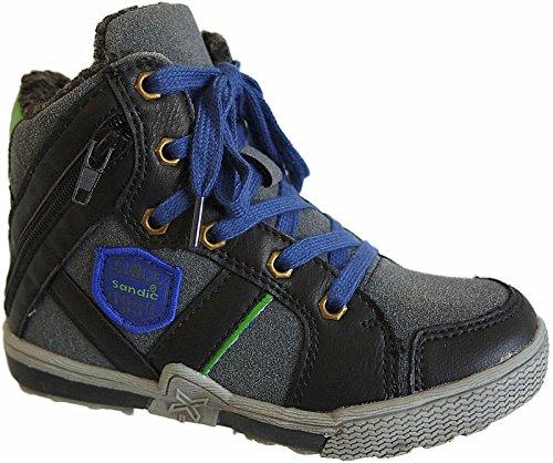 Kinder Freizeit Knöchelschuhe Sneaker gefüttert Schuhe gr.30-35 art.nr.131580 schwarz-navy-grün