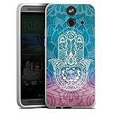 HTC One E8 Silikon Hülle Case Schutzhülle Hand Mandala