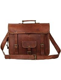 """Handcraft's """"Joshua"""" Vintage Handmade Designer Genuine Leather Front Pocket Brown Briefcase Laptop Bag Office..."""