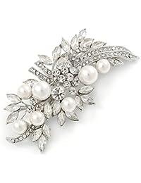 La novia de la boda de la graduación de plata del tono de la perla de Vidrio, diseño de flores CZ Broche pinza de pelo agarre - 85 mm W
