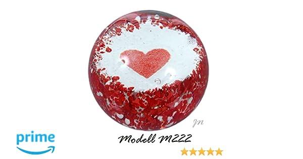 M222 Traumkugel rotes Herz Ø 7cm aus Glas Briefbeschwerer paperweight