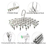 MISHEN Stainless Steel Swivel Hooked Windproof Drying Rack Clothes Hanger with 35 Clips for Drying Underwear Bra Sock Towel Gloves Diapers